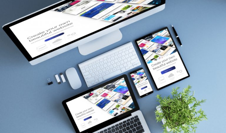 top view blue devices website builder